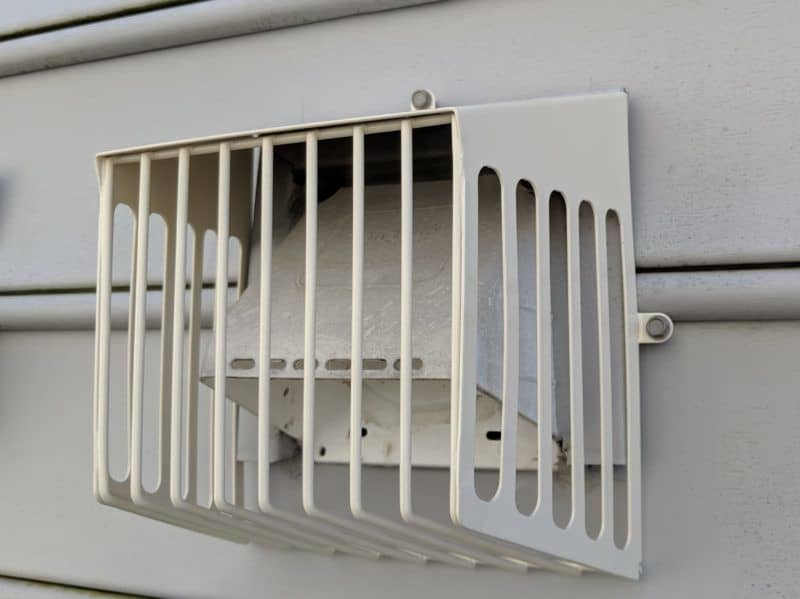 Picture of a Defender brand bird guard on a dryer vent. This was from a bird guard installation in Frederick, MD.