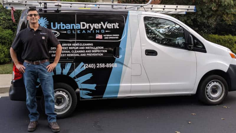 Urbana Dryer Vent Cleaning Owner with the Company Van